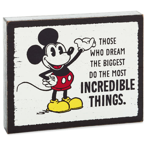 Hallmark	Disney Mickey Mouse Incredible Things Wood Quote Sign