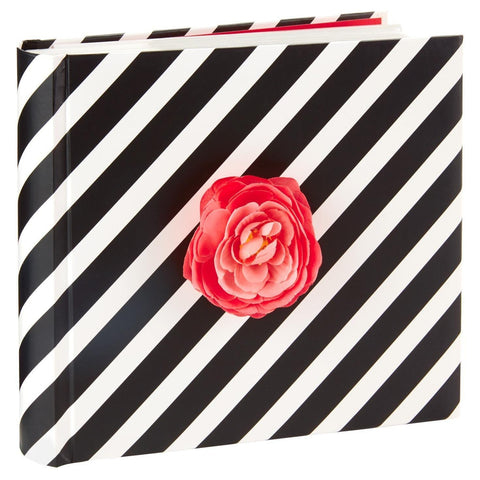 Hallmark BLACK & WHITE STRIPED ALBUM W/ PINK SILK FLOWER