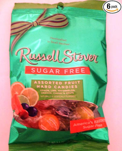 Russell Stover Sugar Free Assorted Fruit Hard Candies Net Wt 3.4 Oz (Pack of 6)