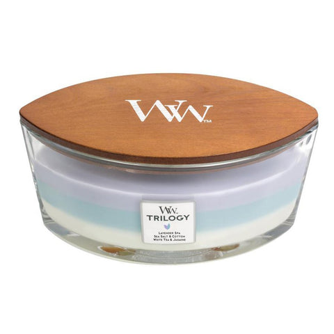 CALMING RETREAT WoodWick New Trilogy Collection HearthWick Flame Large Oval Jar 3-in-1 Scented Candl