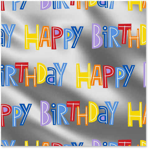 Hallmark Happy Birthday on Silver Wrapping Paper Roll