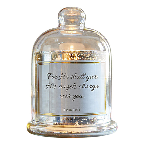 Heartfelt D3944- CB Gift Heartfelt Collection-Lustre Mercury Glass Cloche Dome Candle Holder, 5.5 x