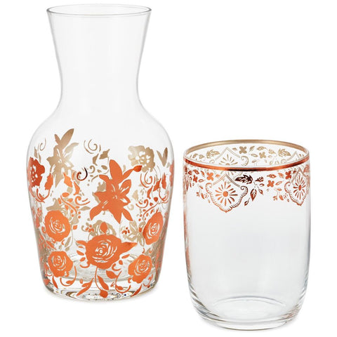 Hallmark Patina Vie Rose Gold Water Carafe and Drinking Glass Set