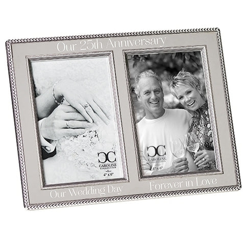 Roman 19927 Our Anniversary Silvertone Beaded Double 7.75 x 15.5 Decorative Picture Frame (25t