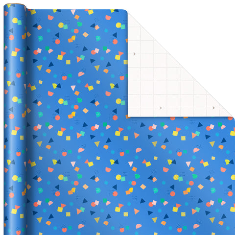 Hallmark EJR6332 Colorful Confetti on Blue Wrapping Paper, 25 sq. ft.