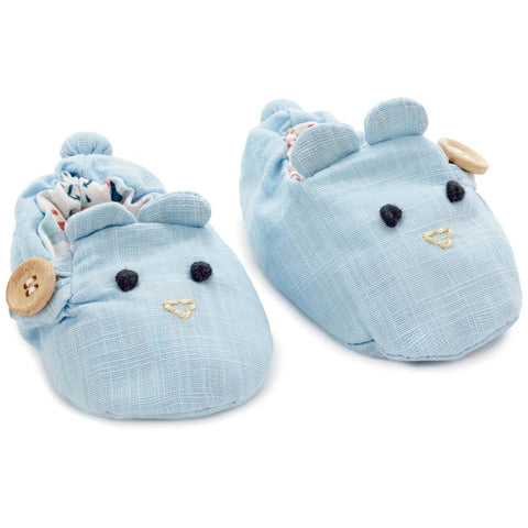 Hallmark Heirloom Blue Bear Linen Baby Booties