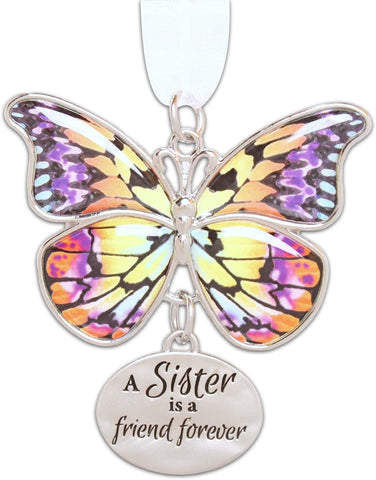 "Ganz 2"" Beautiful Zinc Butterfly Ornament with Sentiment Featuring White Organza Ribbon for Hanging"