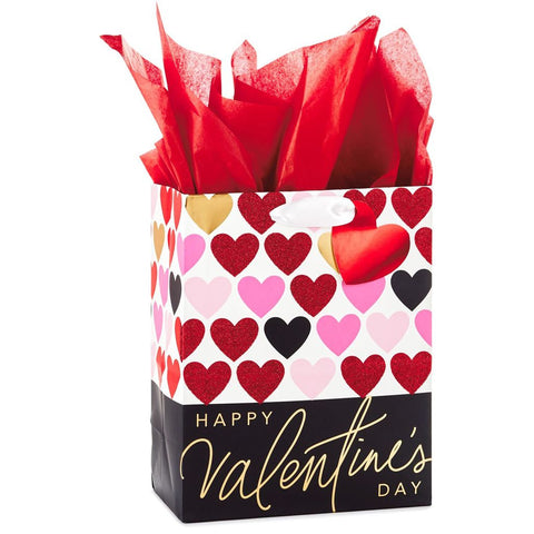 Hallmark Ready To Go Glitter Hearts and Black Trim Medium Gift Bag