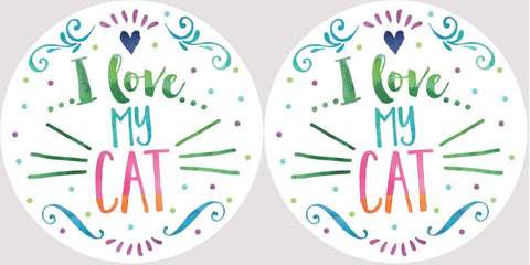 Clementine 4050 I Love My Cat Car Family Pet Coasters Set of 2