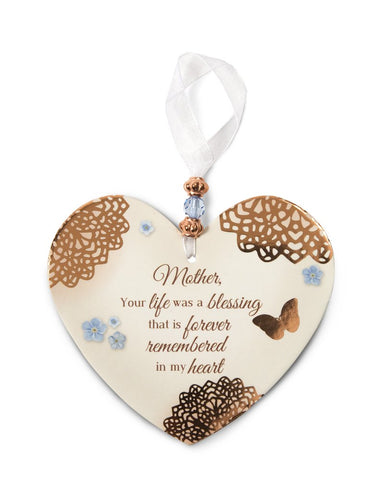 "Pavilion 19036 Remembering Mother 4"" x 6"" Heart-Shaped Ornament"