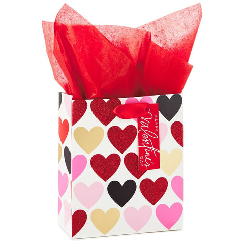 Hallmark Ready To Go Glitter Hearts Small Gift Bag