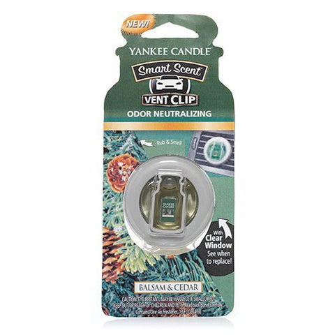 Yankee Candle 1312857 Balsam & Cedar Smart Scent Car Vent Clip Air Freshener, Festive Scent