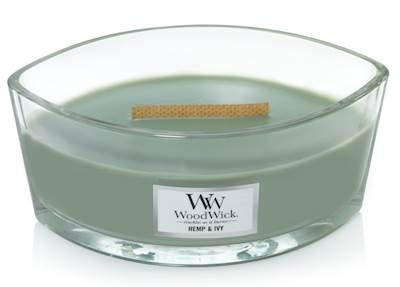 WoodWick Hemp Ivy Ellipse HearthWick Flame Scented Candle