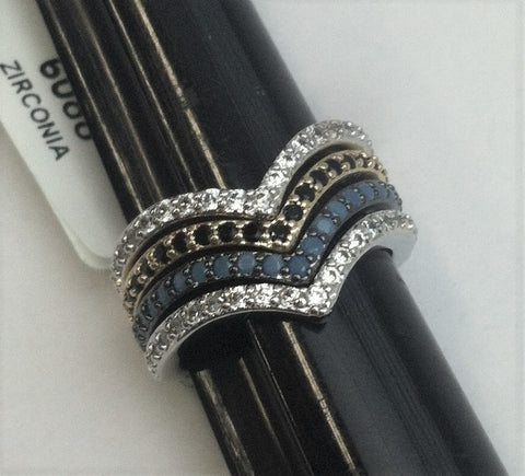 R.S. Covenant 6088 2 Tone 4 Piece V Shape Multi Stone Ring Size 10