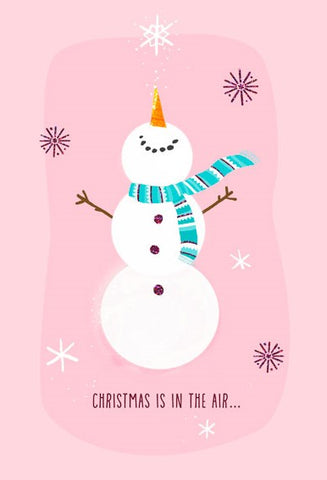 Hallmark Happy Snowman on Pink Christmas Cards, Box of 16