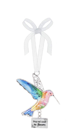 "Ganz ER68544 Decor Life is Beautiful Hummingbird Ornament 3.75"" H (Stop and Smell The Flowers)"
