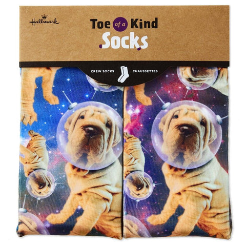 Hallmark Astronaut Dogs Toe of a Kind Novelty Socks