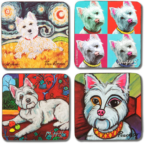 "Pavilion 12077 Paw Palettes ""Westie"" Coaster, 4 by 4-Inch, Set of 4"