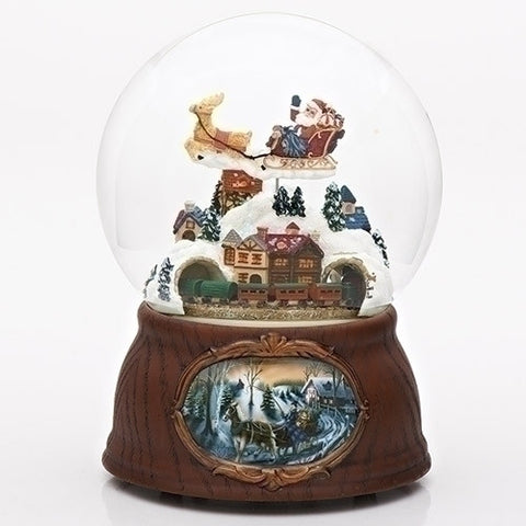 "7"" 120Mm Musical Santa/Train Dome Revolving W/Wood Base Wind-Up"