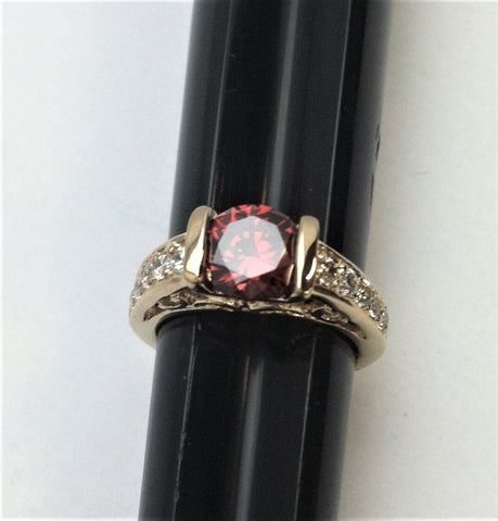 R.S. Covenant 972 Gold Tone Garnet & Cz Ring Size 6