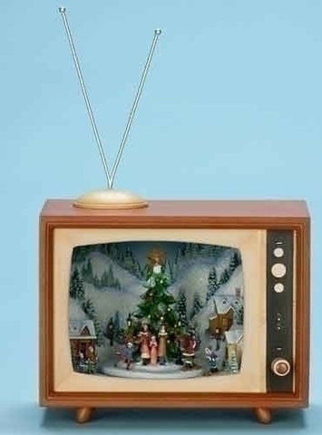 "Roman 37456 8.75"" Musical Tv Box Carol/Tree Rotate/Lighted"