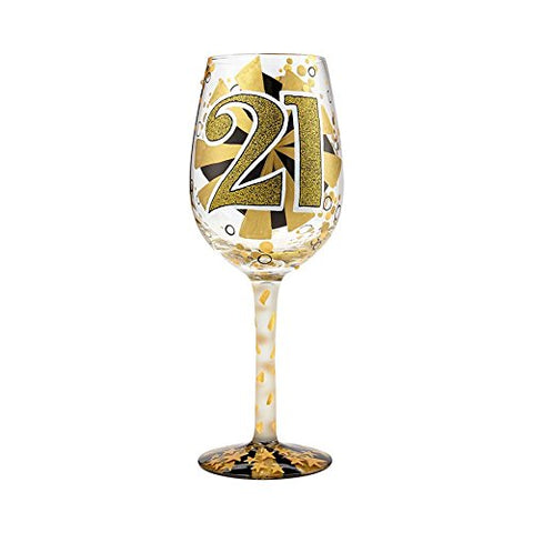 Enesco 6000735 Lolita Glassware 21st Birthday Wine Glass