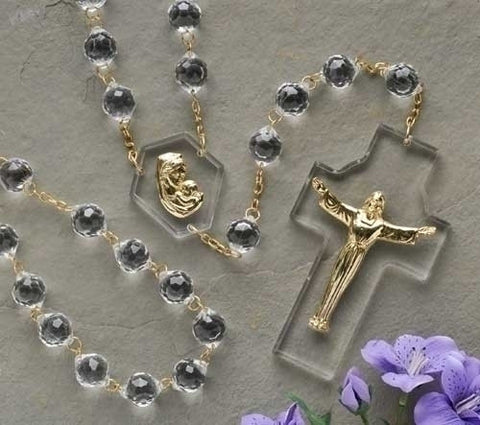 54 Crystal Wall Rosary Boxed Risen Christ / Madonna and amp - Child 54L X 20mm Rd Beads Acrylic/Metal by Roman