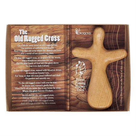 Dicksons The Old Rugged Cross 3.25 x 4.75 Inch Natural Hand Carved Solid Wood Form Fitting Prayer To