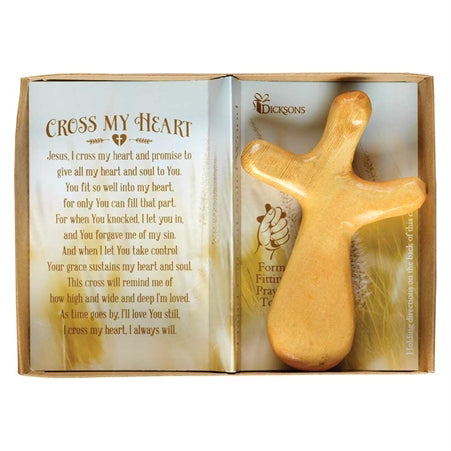Dicksons Jesus I Cross My Heart and Promise 3.25 x 4.75 Inch Natural Hand Carved Solid Wood Form Fit