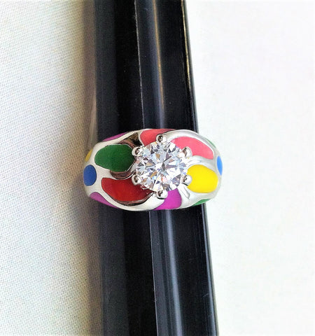 R.S. Covenant 709 Silver Cz & Multi Color Enamel Ring Size  10