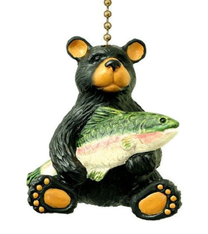 Clementine 297 Black Bear with Fish Ceiling Fan Pull