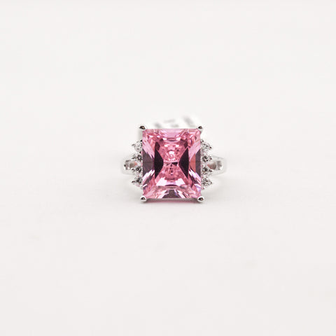 R. S. Covenant 4323 Pink Princess Cut CZ Ring Size 6