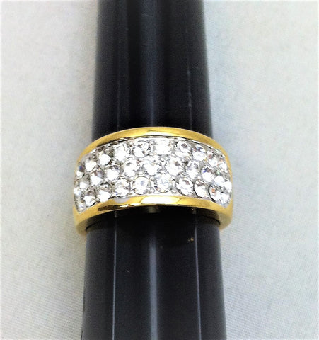 R.S. Covenant 1524 Gold Tone Triple Row Crystal Pave Ring Size 9