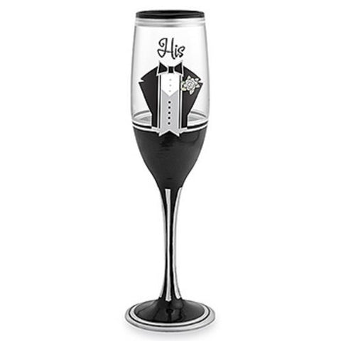 "8 Ounce Black ""Suit N' Tie"" Meticulous Hand-Crafted Champagne Flute"