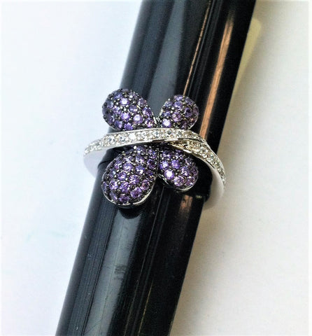 R.S. Covenant 6011 Amethyst & Cz Butterfly Ring Size 7