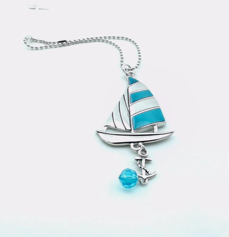 Sailboat Car Charm With Turquoise Color