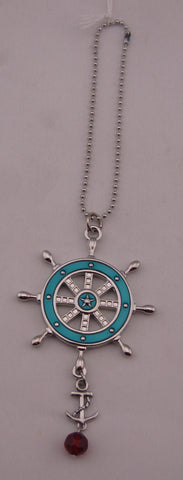 Car Charm - Ship Wheel W/ Anchor And Red Charm