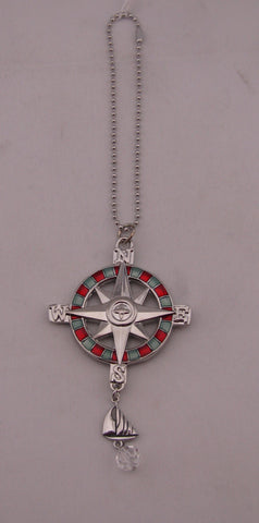 Car Charm Compass W/ Red Colr And Clear Charm