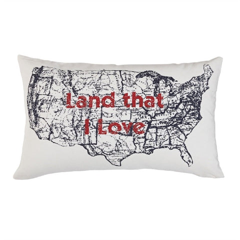 "Park Designs Land That I Love 12"" x 20"" Pillow - Down Feather Fill"