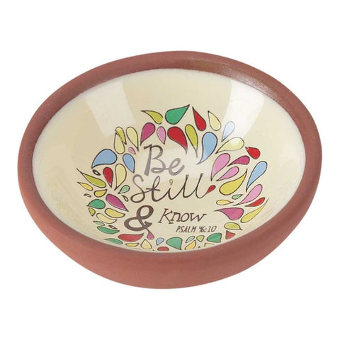 Dicksons TERCOT-TRA-14 Be Still and Know Psalm 46:10 Petals 3 x 3 Terra Cotta Round Keepsake Decorat