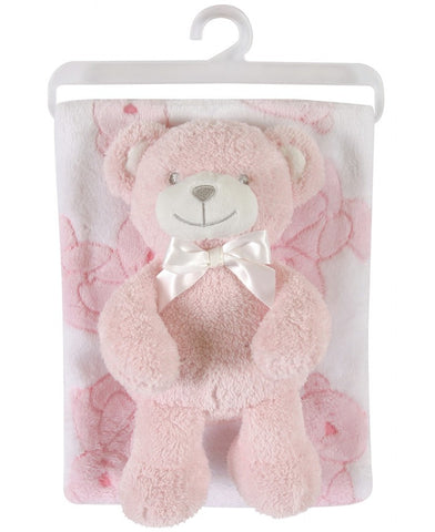Stephan Baby Gift-to-Go Plush Pot-Bellied Bear and Plush Blanket Set, Pink