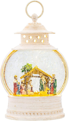 Roman 132718 LED Nativity Lantern Rustic White 11 x 7 Acrylic Holiday Snow Globe Swirl Dome