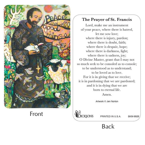 Dicksons BKM-9926 St. Francis Prayer Card Pack of 12