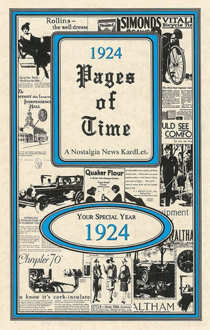 PAGES OF TIME 1924 A Nostalogic Look Back in Time