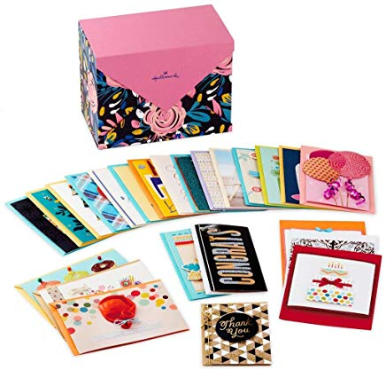 Hallmark Assorted Cards for All Occasions in Floral Organizer Box