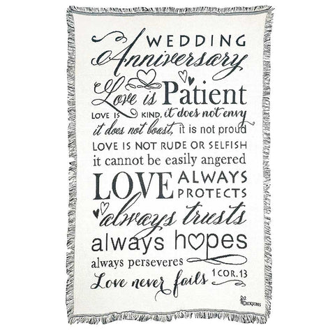 Dicksons FAB-959 Wedding Anniversary 1 Corinthians 13 White 48 x 68 All Cotton Tapestry Throw Blanke