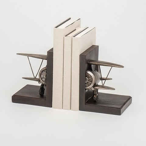Airplane Pewter Finish 8 inch Decorative Stoneware Bookends Set