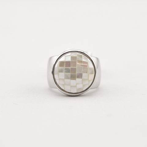 R. S. Covenant 1758 Mother Of Pearl Silver Ring Size 9