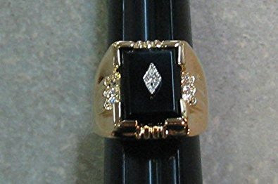 R. S. Covenant 2243 Mens  Genuine Onyx & Cz Ring Sze 13