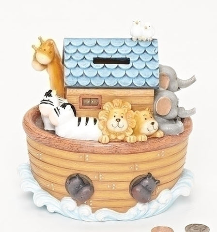 Roman Exclusive Noahs Ark Childrens Piggy Bank Features The Animals on Board and a Slot on Top to Drop in The Money 6.5-Inc